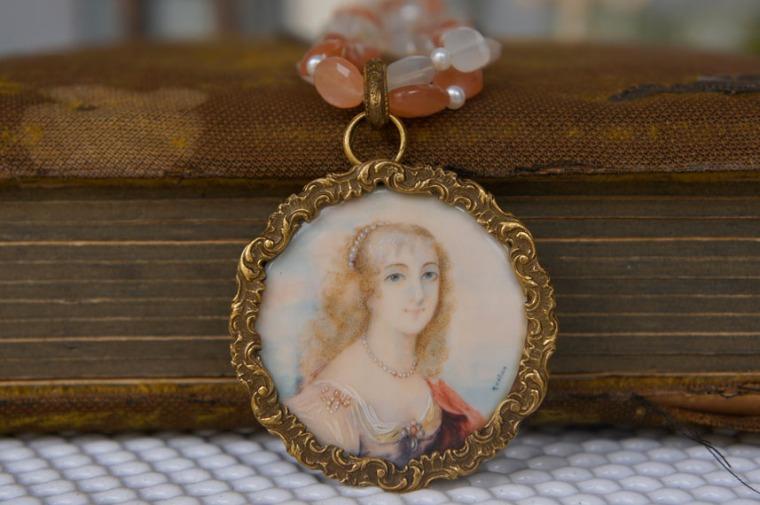 Peaches and Cream Antique Portrait Necklace