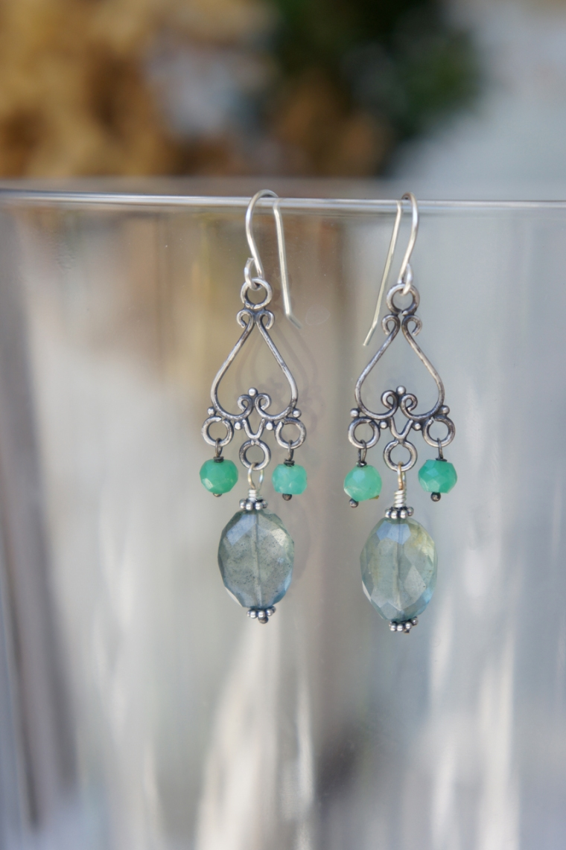 Moss Aquamarine and Chrysoprase Earrings