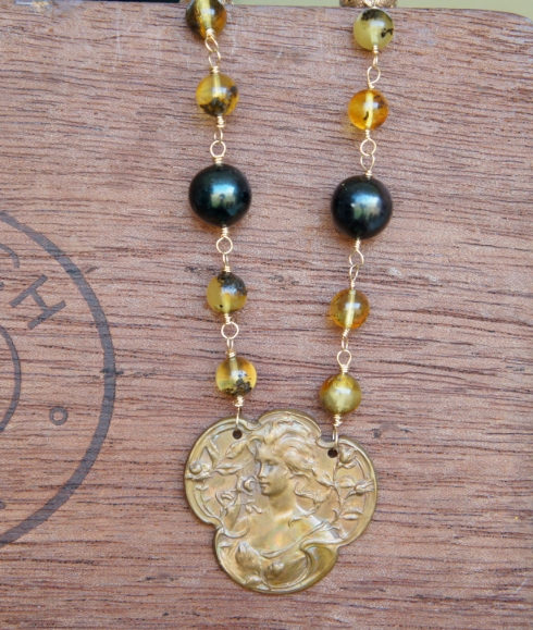Amber and Brass necklace