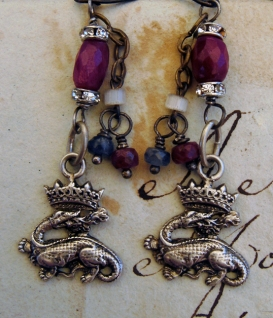 Earrings with Salamander charms and rubies