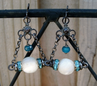 Earrings with old mother of pearl beads