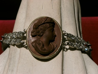 Bracelet with antique lava cameo and old rhinestones
