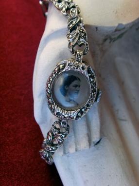 Watch bracelet with tintype photo set inside
