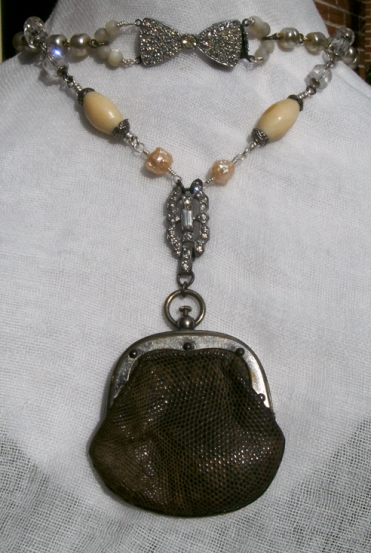 Necklace made with an old leather coin purse