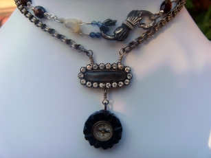Necklace with mourning hair centrepiece and a mini compass