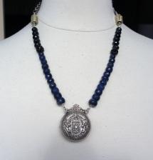 Rare cherub pocket watch case with chunky sapphires