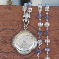 Paris souvenir mirror locket necklace