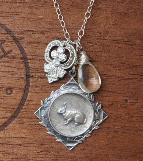 Rabbit medallion necklace