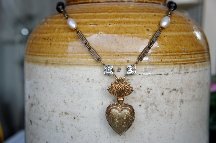 Necklace made with French sacred heart pendant