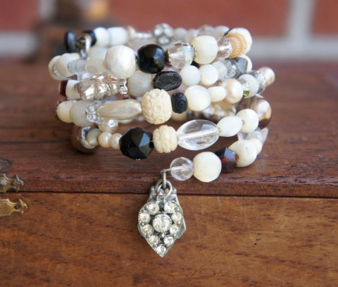 Wrap bracelet made with antique beads