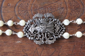 Bracelet made with porcqupine brooch and mother of pearl beads