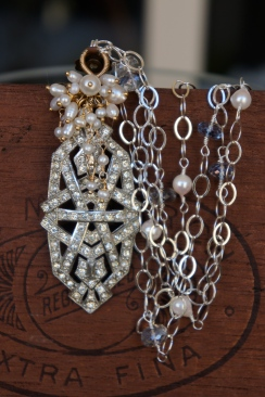 Bridal necklace made with an antique rhinestone brooch and pearls