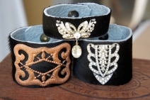 Cuff bracelets made with various embellishments