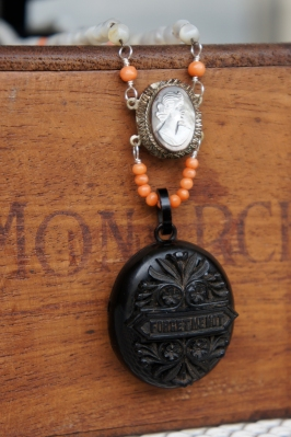 Mourning necklace with Whitby Jet locket and coral